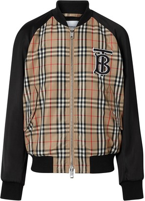Burberry Monogram Motif Vintage Check Nylon Bomber Jacket