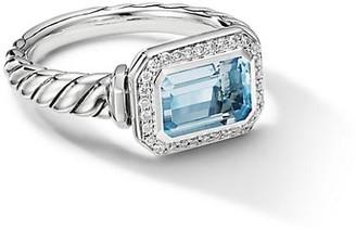 David Yurman Novella Sterling Silver, Diamond & Blue Topaz Ring