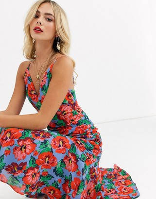Talulah luscioius floral print ruched midi dress