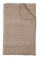 The Well Appointed House 100% Cashmere Heavy Knit Cable Throw in Sand