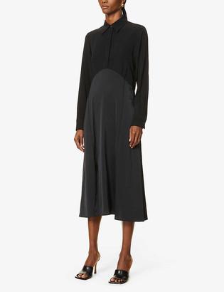 Victoria Victoria Beckham Contrast crepe and satin midi dress
