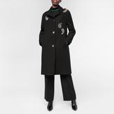 Paul Smith Women's Black Wool Overcoat With Paisley Embellishment