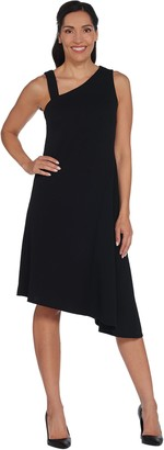 H by Halston Petite One-Shoulder Asymmetric Hem Midi Dress