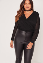 Missguided Plus Size Wrap Blouse Bodysuit Black