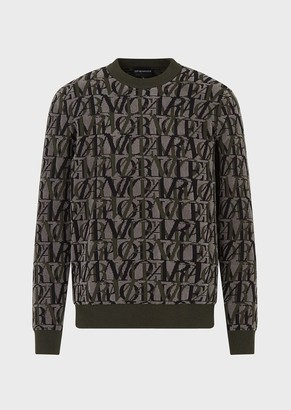 Emporio Armani Wool Blend Sweater With Two-Tone Jacquard Lettering