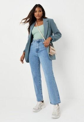 Missguided Blue High Waisted Boyfriend Jeans