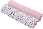 Bebe Au Lait 47'' x 47'' Rose Quartz & Petal Muslin Swaddle Blanket Set