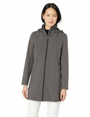 Anne Klein Women's Diamond Rain Softshell Coat with Hood
