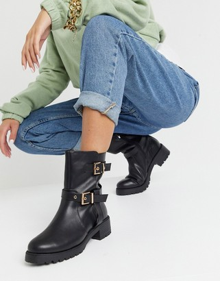 ASOS DESIGN Asha pull on trucker boots in black