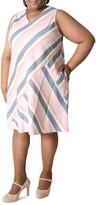 Thumbnail for your product : Sandra Darren Striped V-Neck Sleeveless A-Line Dress