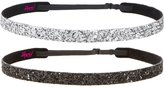 Hipsy Women's Non-Slip Headband Adjustable Glitter 2pk Black & Silver