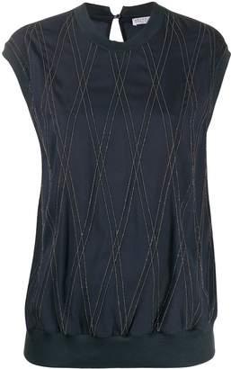 Brunello Cucinelli bead-embellished crepe T-shirt