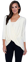 H by Halston Twisted Drape Front 3/4 Sleeve Knit Top with Tank Inset