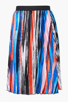 Forever 21 Plus Size Abstract Pleated Skirt