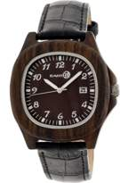 Earth Wood Sherwood Leather-strap Watch.