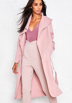 Missy Empire Shay Pink Waterfall Drape Coat