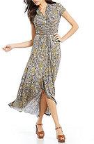 MICHAEL Michael Kors Paisley Print Faux-Wrap Matte Jersey Hi-Low Maxi Dress