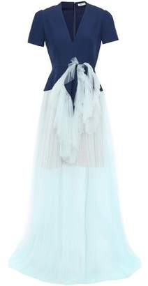 DELPOZO Knotted Layered Crepe And Tulle Gown