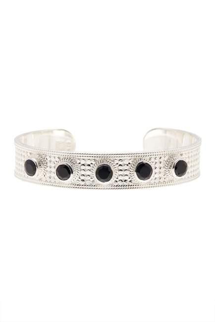 Anna Beck Sterling Silver Black Onyx Multi-Stone Medium Open Bracelet
