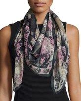 Alexander McQueen Skull & Hummingbird Silk Scarf, Black/Pink