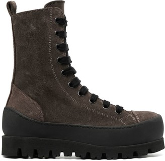 Ann Demeulemeester Ridged Sole Lace-Up Boots