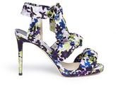 Jimmy Choo 'Kris 100' camoflower print satin bow sandals