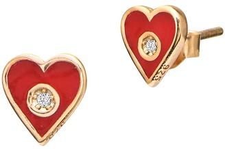 GABIRIELLE JEWELRY 22K Gold Vermeil, Enamel Cubic Zirconia Heart Stud Earrings