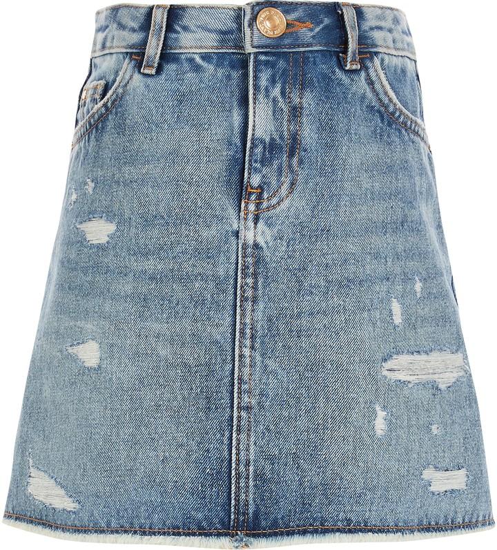 River Island Girls Blue ripped A line denim skirt