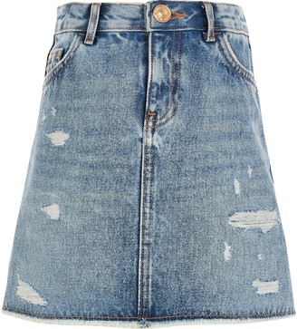 River Island Girls Blue ripped A line denim skirt