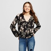 Mossimo Women's Long Sleeve Woven Top Black and White Print
