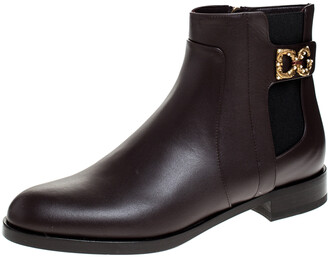 Dolce & Gabbana Brown Leather Logo Detail Ankle Boots Size 38.5