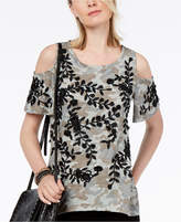 INC International Concepts I.n.c. Embroidered Cold-Shoulder T-Shirt, Created for Macy's