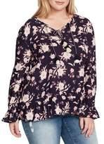 Jessica Simpson Plus Hesti Floral Ruffle Blouse