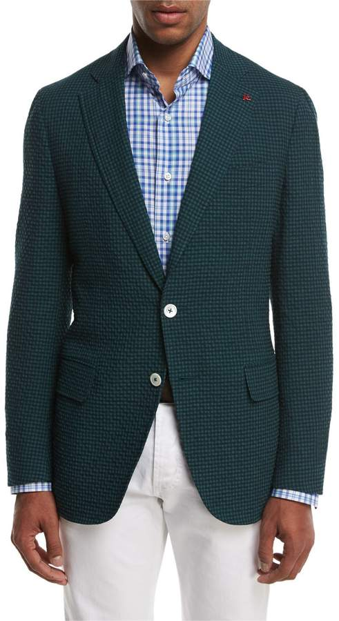 Isaia Seersucker Two-Button Sport Coat, Forest Green