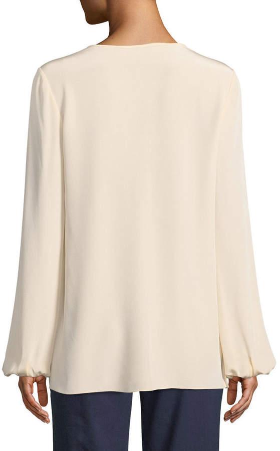 Diane von Furstenberg Long-Sleeve Silk Keyhole Blouse