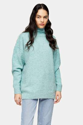 Topshop Womens Green Brushed Longline Knitted Funnel Neck Jumper - Green
