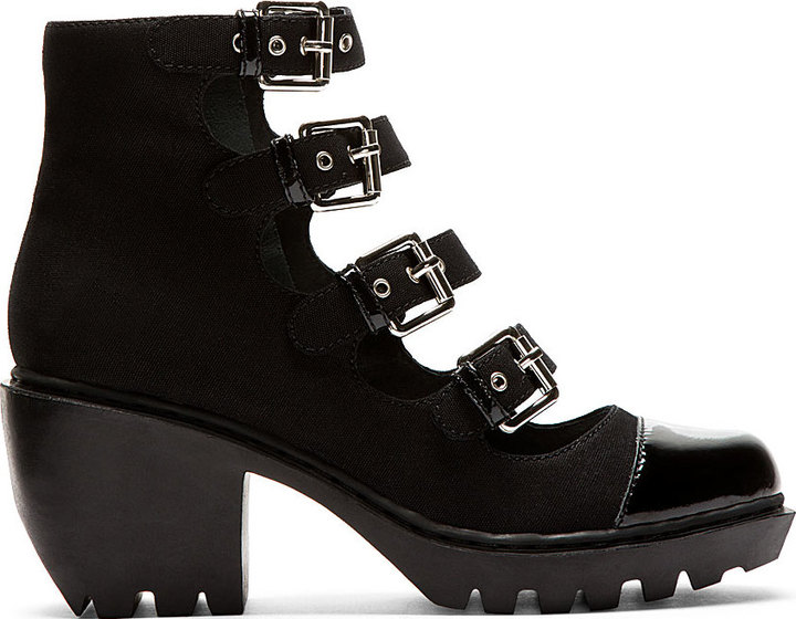Opening Ceremony Black Grunge Buckle Boots