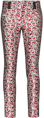 Haider Ackermann Printed Metallic Skinny Trousers