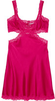 Stella McCartney Clara Whispering Lace-trimmed Stretch-silk Chemise - Fuchsia