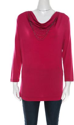 Escada Tourmaline Pink Knit Chain Detail Cowl Neck Ewpenia Top M