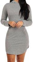Eiffel Store Eiffel Women's Long Sleeve Side Slit Sport Kangaroo Pocket Hooded Mini Dress Skirt Grey