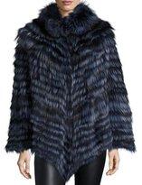 La Fiorentina Fox Fur Poncho, Blue