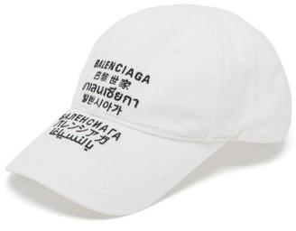 Balenciaga Languages Logo-embroidered Cotton Cap - White Black