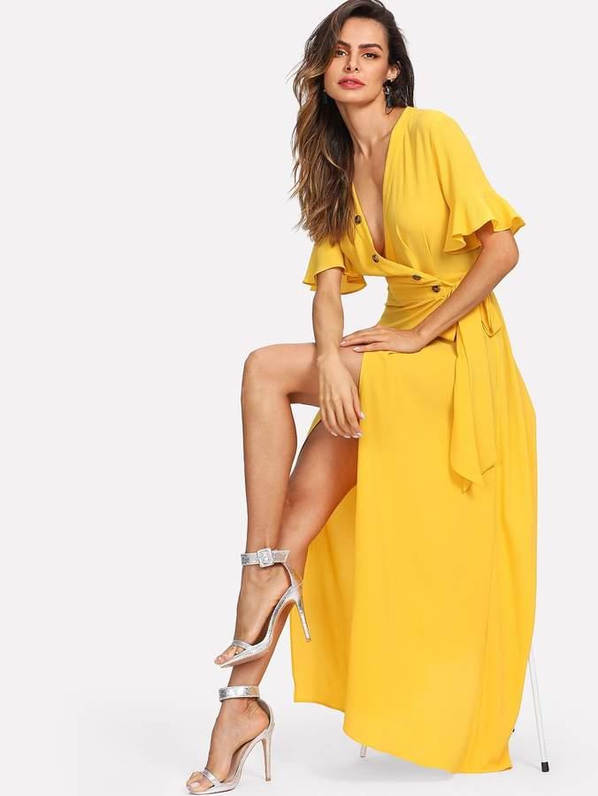 Shein Button Front Bell Sleeve Split Wrap Dress