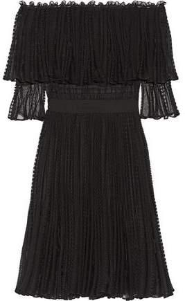 Alexander McQueen Off-The-Shoulder Ruffled Knitted Dress