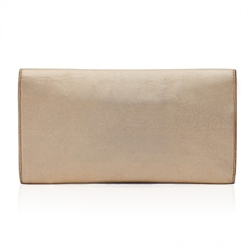 Yves Saint Laurent excellent (EX Gold Leather Clutch Bag