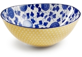 "Certified International Chelsea Collection Embossed Indigo/Yellow Floral 4.75"" Bowl"