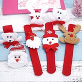 Zehui Wristband Pat Hand Circle, 12PCS Christmas Slap Bracelet Xmas Wristband Pat Hand Circle Party Favors (Random Delivery)