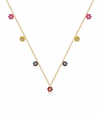 GABIRIELLE JEWELRY 14K Gold Plated Flower Rainbow Gem Dangle Necklace