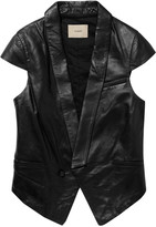 Cap-sleeved leather vest